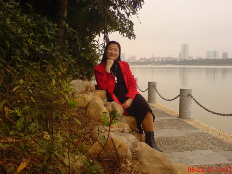 Amanda by the river in Nanning one lunchtime