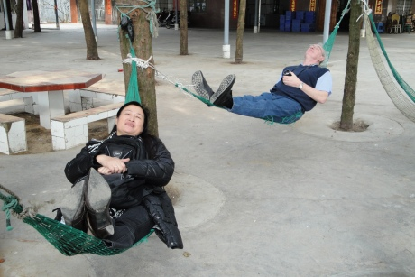 Relaxing after lunch - near Qinzhou - Dec 2009