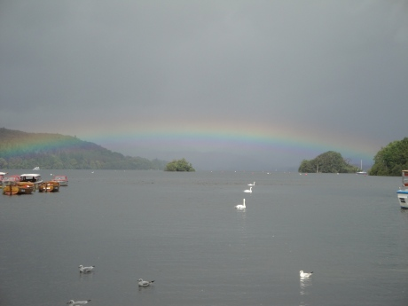 Low rainbow at Bowness-on-Windermere